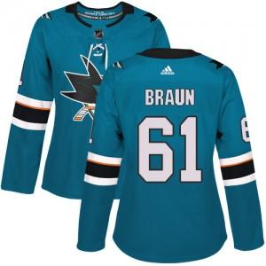 Justin Braun San Jose Sharks Women's Adidas Authentic Green Teal Home Jersey