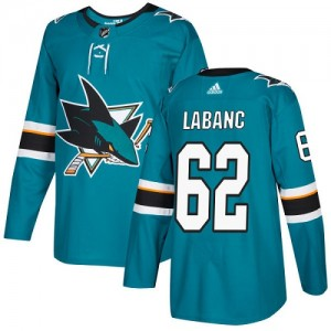 Kevin Labanc San Jose Sharks Youth Adidas Authentic Green Teal Home Jersey