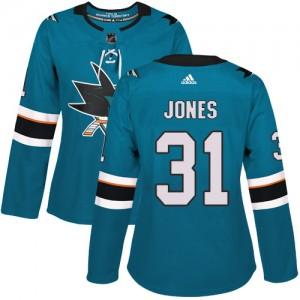 Martin Jones San Jose Sharks Women's Adidas Authentic Green Teal Home Jersey