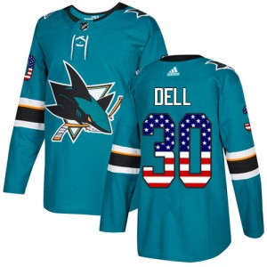 Aaron Dell San Jose Sharks Men's Adidas Authentic Green Teal USA Flag Fashion Jersey