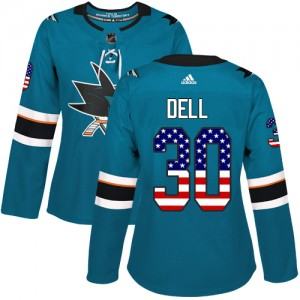 Aaron Dell San Jose Sharks Women's Adidas Authentic Green Teal USA Flag Fashion Jersey