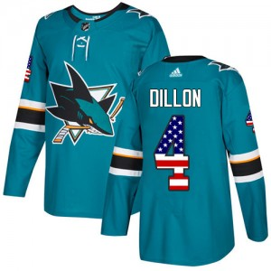Brenden Dillon San Jose Sharks Youth Adidas Authentic Green Teal USA Flag Fashion Jersey