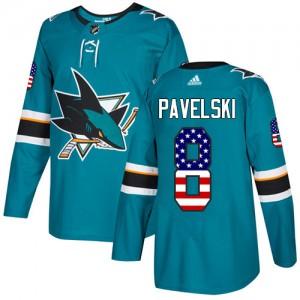 Joe Pavelski San Jose Sharks Men's Adidas Authentic Green Teal USA Flag Fashion Jersey