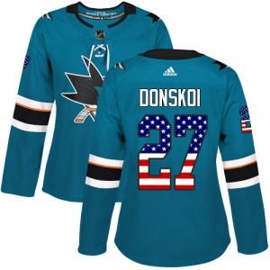 Joonas Donskoi San Jose Sharks Women's Adidas Authentic Green Teal USA Flag Fashion Jersey
