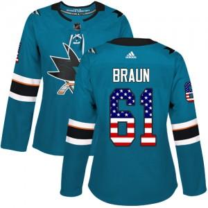 Justin Braun San Jose Sharks Women's Adidas Authentic Green Teal USA Flag Fashion Jersey
