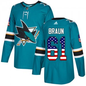 Justin Braun San Jose Sharks Youth Adidas Authentic Green Teal USA Flag Fashion Jersey