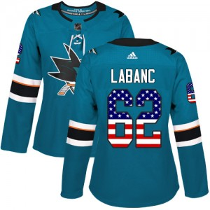 Kevin Labanc San Jose Sharks Women's Adidas Authentic Green Teal USA Flag Fashion Jersey