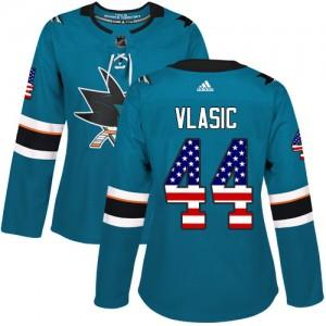 Marc-Edouard Vlasic San Jose Sharks Women's Adidas Authentic Green Teal USA Flag Fashion Jersey