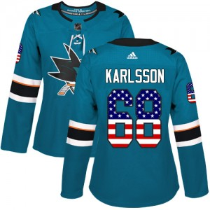 Melker Karlsson San Jose Sharks Women's Adidas Authentic Green Teal USA Flag Fashion Jersey