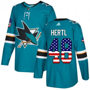 Tomas Hertl San Jose Sharks Youth Adidas Authentic Green Teal USA Flag Fashion Jersey