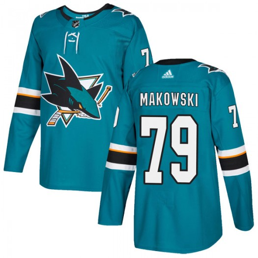 David Makowski San Jose Sharks Men's Adidas Authentic Teal Home Jersey