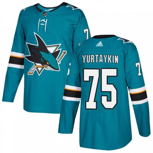 Danil Yurtaykin San Jose Sharks Men's Adidas Authentic Teal Home Jersey