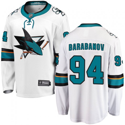 Alexander Barabanov San Jose Sharks Men's Fanatics Branded White Breakaway Away Jersey