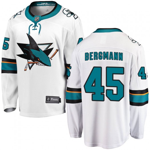 Lean Bergmann San Jose Sharks Men's Fanatics Branded White Breakaway Away Jersey