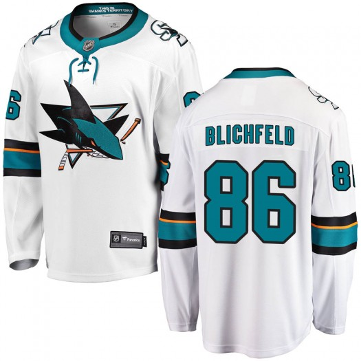 Joachim Blichfeld San Jose Sharks Men's Fanatics Branded White Breakaway Away Jersey
