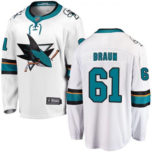 Justin Braun San Jose Sharks Men's Fanatics Branded White Breakaway Away Jersey