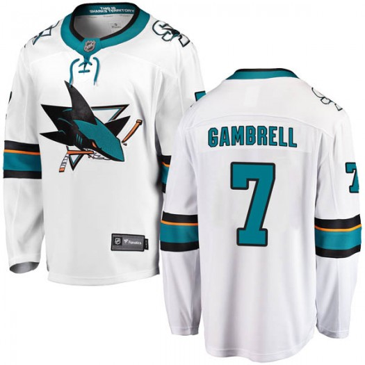 Dylan Gambrell San Jose Sharks Men's Fanatics Branded White Breakaway Away Jersey