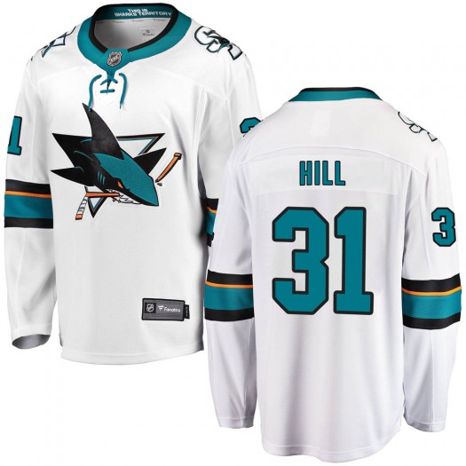 Adin Hill San Jose Sharks Men's Fanatics Branded White Breakaway Away Jersey