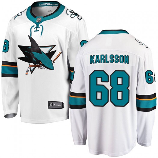 Melker Karlsson San Jose Sharks Men's Fanatics Branded White Breakaway Away Jersey