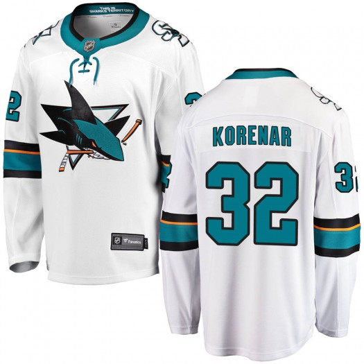 Josef Korenar San Jose Sharks Men's Fanatics Branded White Breakaway Away Jersey