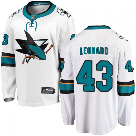 John Leonard San Jose Sharks Men's Fanatics Branded White Breakaway Away Jersey