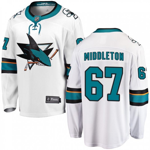 Jacob Middleton San Jose Sharks Men's Fanatics Branded White Breakaway Away Jersey