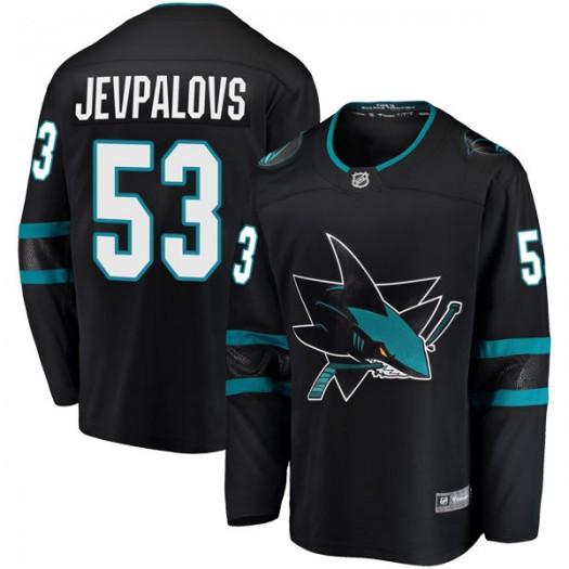 Nikita Jevpalovs San Jose Sharks Youth Fanatics Branded Black Breakaway Alternate Jersey