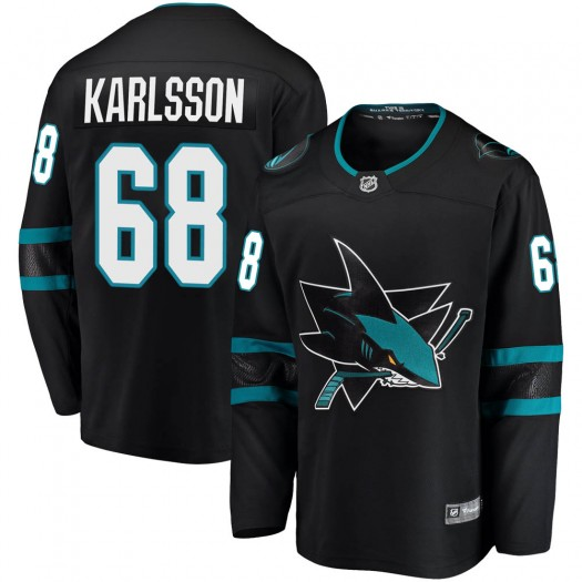 Melker Karlsson San Jose Sharks Youth Fanatics Branded Black Breakaway Alternate Jersey