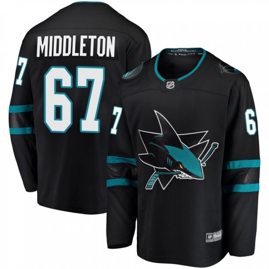 Jacob Middleton San Jose Sharks Youth Fanatics Branded Black Breakaway Alternate Jersey
