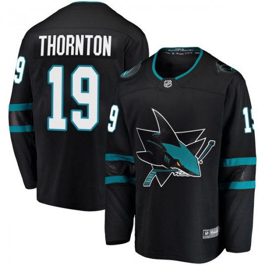 Joe Thornton San Jose Sharks Youth Fanatics Branded Black Breakaway Alternate Jersey