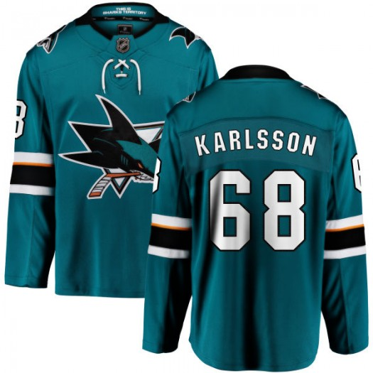 Melker Karlsson San Jose Sharks Youth Fanatics Branded Teal Home Breakaway Jersey