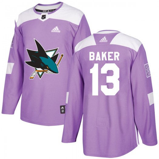 Jamie Baker San Jose Sharks Youth Adidas Authentic Purple Hockey Fights Cancer Jersey