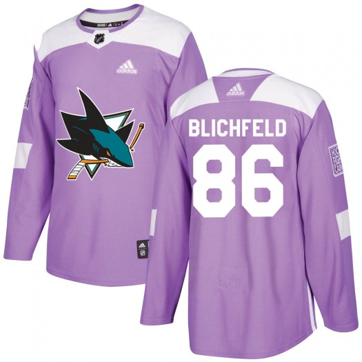 Joachim Blichfeld San Jose Sharks Youth Adidas Authentic Purple Hockey Fights Cancer Jersey