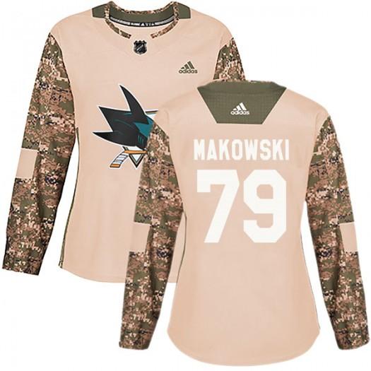 David Makowski San Jose Sharks Women's Adidas Authentic Camo Veterans Day Practice Jersey