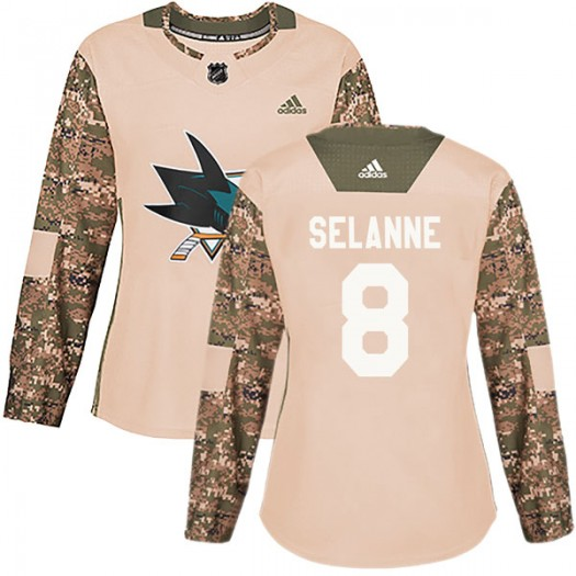 Teemu Selanne San Jose Sharks Women's Adidas Authentic Camo Veterans Day Practice Jersey
