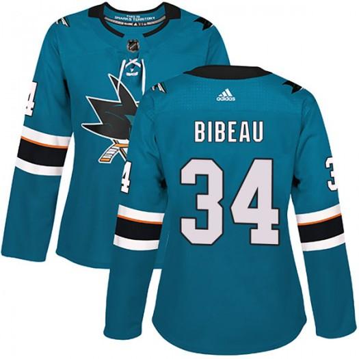 Antoine Bibeau San Jose Sharks Women's Adidas Authentic Teal Home Jersey