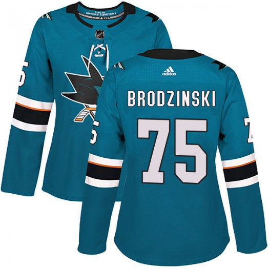 Michael Brodzinski San Jose Sharks Women's Adidas Authentic Teal Home Jersey