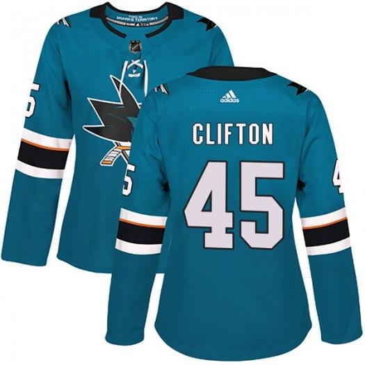 Tim Clifton San Jose Sharks Women's Adidas Authentic Teal Home Jersey