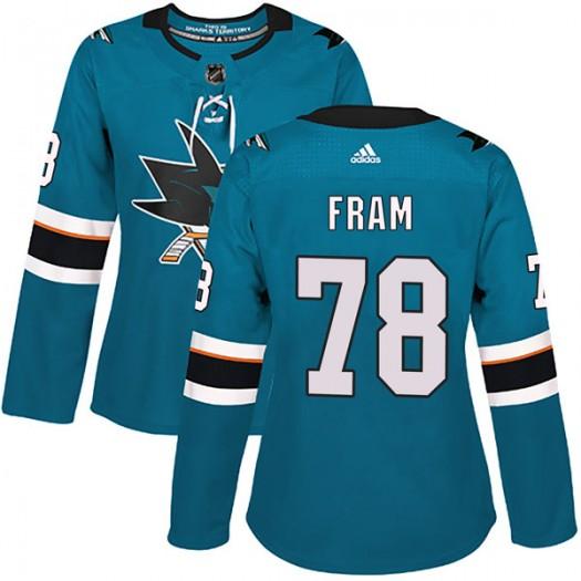 Jason Fram San Jose Sharks Women's Adidas Authentic Teal Home Jersey