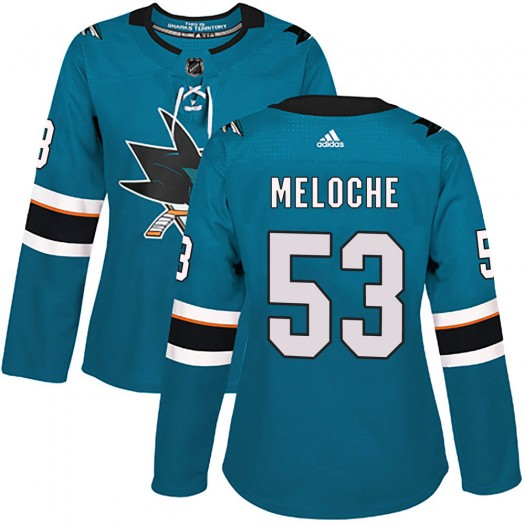 Nicolas Meloche San Jose Sharks Women's Adidas Authentic Teal Home Jersey