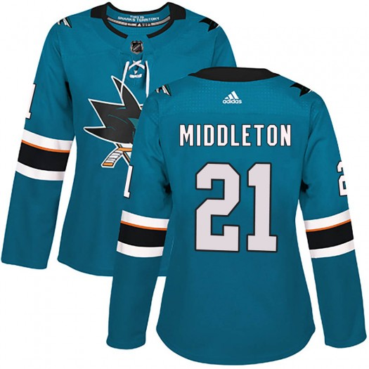 Jacob Middleton San Jose Sharks Women's Adidas Authentic Teal Home Jersey
