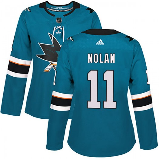 Owen Nolan San Jose Sharks Women's Adidas Authentic Teal Home Jersey