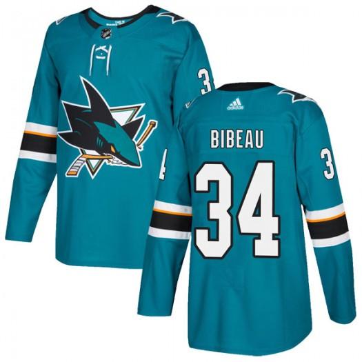 Antoine Bibeau San Jose Sharks Youth Adidas Authentic Teal Home Jersey