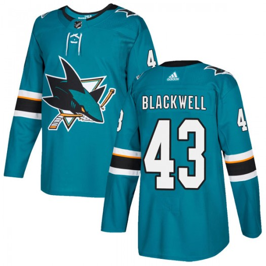 Colin Blackwell San Jose Sharks Youth Adidas Authentic Black Teal Home Jersey
