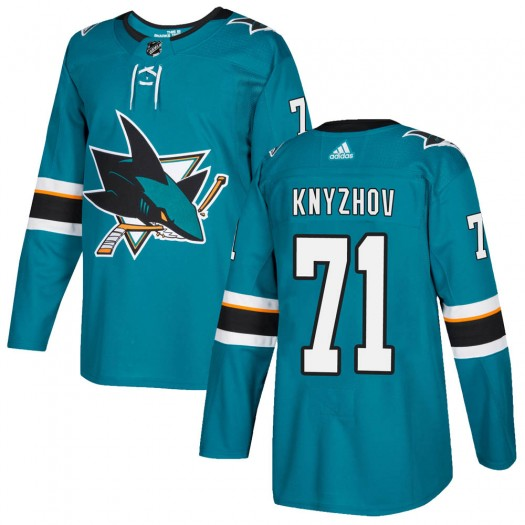 Nikolai Knyzhov San Jose Sharks Youth Adidas Authentic Teal ized Home Jersey