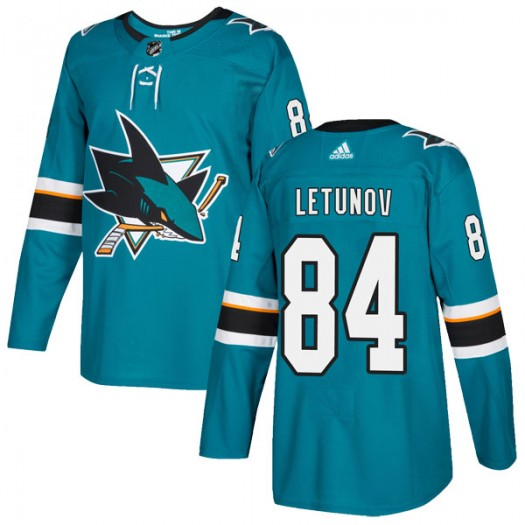 Maxim Letunov San Jose Sharks Youth Adidas Authentic Teal Home Jersey