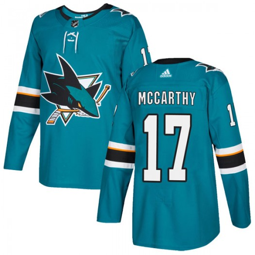 John McCarthy San Jose Sharks Youth Adidas Authentic Teal Home Jersey