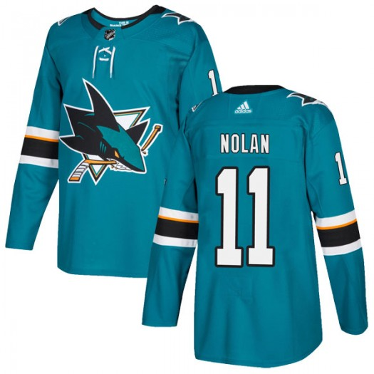 Owen Nolan San Jose Sharks Youth Adidas Authentic Teal Home Jersey