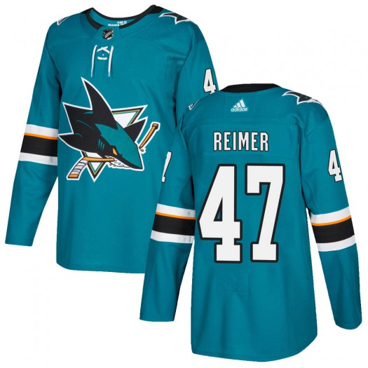 James Reimer San Jose Sharks Youth Adidas Authentic Teal Home Jersey