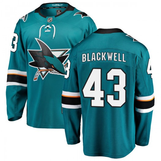Colin Blackwell San Jose Sharks Men's Fanatics Branded Black Breakaway Teal Home Jersey